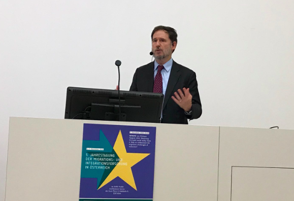 Michael Doyle speaks at MIMC launch in Vienna on 5 December 2018