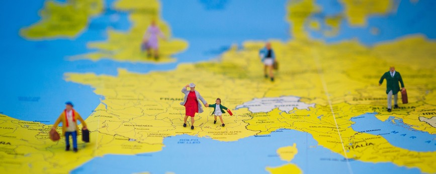 toy people on map of europe